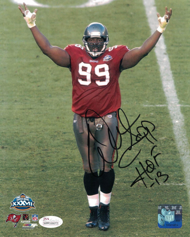 Warren Sapp Autographed Tampa Bay Buccaneers 8x10 Photo JSA PSM-Powers Sports Memorabilia