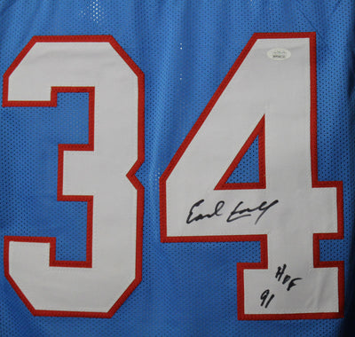 Earl Campbell Autographed Houston Oilers size XL jersey w/HOF 91 & JSA PSM-Powers Sports Memorabilia