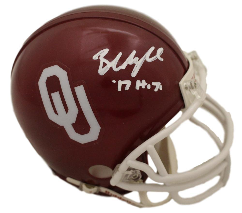 Baker Mayfield Autographed Oklahoma Sooners Mini Helmet 17 HT BAS PSM-Powers Sports Memorabilia