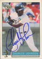 Charles Johnson Kane County Cougars - Marlins Affiliate 1993 Fleer Excel Autographed Card - Minor League Card. This item comes with a certificate of authenticity from Autograph-Sports. PSM-Powers Sports Memorabilia