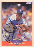 Bill Wegman Milwaukee Brewers 1989 Score Autographed Card. This item comes with a certificate of authenticity from Autograph-Sports. PSM-Powers Sports Memorabilia