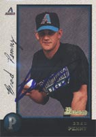 Brad Penny South Bend Silver Hawks - Diamondbacks Affiliate 1998 Bowman Autographed Card - Minor League Card. This item comes with a certificate of authenticity from Autograph-Sports. PSM-Powers Sports Memorabilia