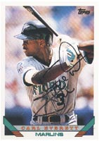 Carl Everett Florida Marlins 1993 Topps Autographed Card - Rookie Card. This item comes with a certificate of authenticity from Autograph-Sports. PSM-Powers Sports Memorabilia