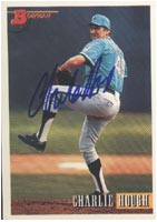 Charlie Hough Florida Marlins 1993 Bowman Autographed Card. This item comes with a certificate of authenticity from Autograph-Sports. PSM-Powers Sports Memorabilia