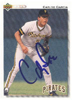Carlos Garcia Pittsburgh Pirates 1992 Upper Deck Autographed Card. This item comes with a certificate of authenticity from Autograph-Sports. PSM-Powers Sports Memorabilia