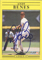 Andy Benes San Diego Padres 1991 Fleer Autographed Card. This item comes with a certificate of authenticity from Autograph-Sports. PSM-Powers Sports Memorabilia