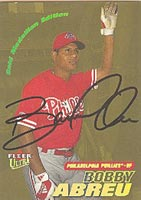 Bobby Abreu Philadelphia Phillies 2000 Fleer Ultra Autographed Card - Nice Autograph. This item comes with a certificate of authenticity from Autograph-Sports. PSM-Powers Sports Memorabilia