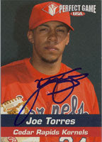 Joe Torres Cedar Rapids Kernels - Angels Affiliate 2005 Perfect Game USA Autographed Card - Minor League Card. This item comes with a certificate of authenticity from Autograph-Sports. PSM-Powers Sports Memorabilia