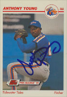 Anthony Young Tidewater Tides - Mets Affiliate 1991 Line Drive Pre-Rookie Autographed Card - Minor League Card. This item comes with a certificate of authenticity from Autograph-Sports.-Powers Sports Memorabilia