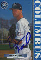 Ben Ford Columbus Clippers - Yankees Affiliate 1999 Blueline Autographed Card - Minor League Card. This item comes with a certificate of authenticity from Autograph-Sports. PSM-Powers Sports Memorabilia