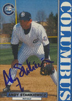 Andy Stankiewicz Columbus Clippers - Yankees Affiliate 1999 Blueline Autographed Card - Minor League Card. This item comes with a certificate of authenticity from Autograph-Sports. PSM-Powers Sports Memorabilia