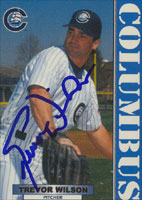 Trevor Wilson Columbus Clippers - Yankees Affiliate 1999 Blueline Autographed Card - Minor League Card. This item comes with a certificate of authenticity from Autograph-Sports. PSM-Powers Sports Memorabilia