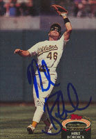 Mike Bordick Oakland Athletics 1990 Topps Stadium Club Autographed Card. This item comes with a certificate of authenticity from Autograph-Sports. PSM-Powers Sports Memorabilia