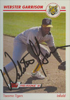 Webster Garrison Tacoma Tigers - Athletics Affiliate 1991 Line Drive Pre-Rookie Autographed Card - Minor League Card. This item comes with a certificate of authenticity from Autograph-Sports. PSM-Powers Sports Memorabilia