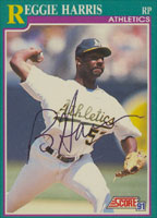 Reggie Harris Oakland Athletics 1991 Score Autographed Card. This item comes with a certificate of authenticity from Autograph-Sports. PSM-Powers Sports Memorabilia