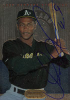 Jose Herrera Oakland Athletics 1995 Bowman's Best Autographed Card. This item comes with a certificate of authenticity from Autograph-Sports. PSM-Powers Sports Memorabilia