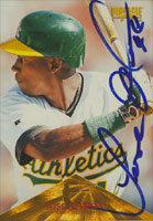 Jose Herrera Oakland Athletics 1996 Pinnacle Autographed Card. This item comes with a certificate of authenticity from Autograph-Sports. PSM-Powers Sports Memorabilia