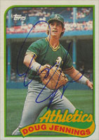 Doug Jennings Oakland Athletics 1989 Topps Autographed Card. This item comes with a certificate of authenticity from Autograph-Sports. PSM-Powers Sports Memorabilia