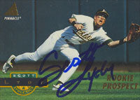 Scott Lydy Oakland Athletics 1994 Pinnacle Autographed Card. This item comes with a certificate of authenticity from Autograph-Sports. PSM-Powers Sports Memorabilia