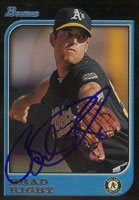 Brad Rigby Oakland Athletics 1997 Bowman Autographed Card. This item comes with a certificate of authenticity from Autograph-Sports. PSM-Powers Sports Memorabilia