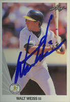 Walt Weiss Oakland Athletics 1990 Leaf Autographed Card. This item comes with a certificate of authenticity from Autograph-Sports. PSM-Powers Sports Memorabilia