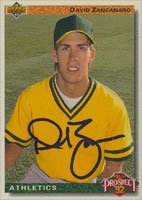 Dave Zancanaro Oakland Athletics 1992 Upper Deck Top Prospects Autographed Card. This item comes with a certificate of authenticity from Autograph-Sports. PSM-Powers Sports Memorabilia