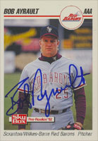 Bob Ayrault Scranton/W-B Red Barons - Phillies Affiliate 1992 Skybox Pre-Rookie Autographed Card - Minor League Card. This item comes with a certificate of authenticity from Autograph-Sports. PSM-Powers Sports Memorabilia