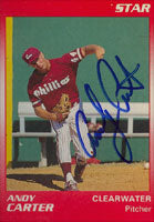 Andy Carter Clearwater Phillies - Phillies Affiliate 1990 Star Autographed Card - Minor League Card. This item comes with a certificate of authenticity from Autograph-Sports. PSM-Powers Sports Memorabilia