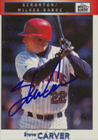 Steve Carver Scranton/W-B Red Barons - Phillies Affiliate 1999 Blueline Autographed Card - Minor League Card. This item comes with a certificate of authenticity from Autograph-Sports. PSM-Powers Sports Memorabilia