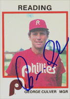 George Culver Reading Phillies - Phillies Affiliate 1987 ProCards Autographed Card - Minor League Card. This item comes with a certificate of authenticity from Autograph-Sports. PSM-Powers Sports Memorabilia