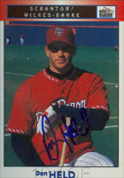 Dan Held Scranton/W-B Red Barons - Phillies Affiliate 1999 Blueline Autographed Card - Minor League Card. This item comes with a certificate of authenticity from Autograph-Sports. PSM-Powers Sports Memorabilia