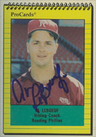 Al Leboeuf Reading Phillies - Phillies Affiliate 1991 ProCards Autographed Card - Minor League Card. This item comes with a certificate of authenticity from Autograph-Sports. PSM-Powers Sports Memorabilia