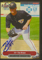 Tim Brown Williamsport Crosscutters - Pirates Affiliate 2004 Choice Autographed Card - Minor League Card. This item comes with a certificate of authenticity from Autograph-Sports. PSM-Powers Sports Memorabilia
