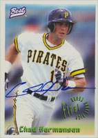 Chad Hermansen Pittsburgh Pirates 1995 Best Cards Autographed Card. This item comes with a certificate of authenticity from Autograph-Sports. PSM-Powers Sports Memorabilia