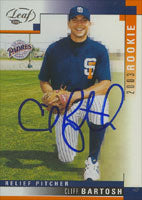 Cliff Bartosh San Diego Padres 2003 Leaf Rookie Autographed Card. This item comes with a certificate of authenticity from Autograph-Sports. PSM-Powers Sports Memorabilia