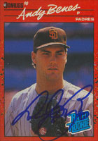 Andy Benes San Diego Padres 1990 Donruss Rated Rookie Autographed Card. This item comes with a certificate of authenticity from Autograph-Sports. PSM-Powers Sports Memorabilia