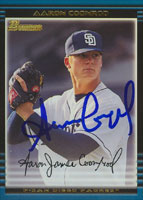 Aaron Coonrod San Diego Padres 2002 Bowman Autographed Card. This item comes with a certificate of authenticity from Autograph-Sports. PSM-Powers Sports Memorabilia