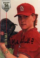 Yates Hall St. Louis Cardinals 1994 Stadium Club Draft Pick Autographed Card - Rookie Card. This item comes with a certificate of authenticity from Autograph-Sports.-Powers Sports Memorabilia