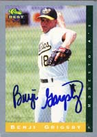 Benji Grigsby Modesto Athletics - Athletics Affiliate 1993 Classic Best Autographed Card - Minor League Card. This item comes with a certificate of authenticity from Autograph-Sports. PSM-Powers Sports Memorabilia
