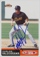 Carlos Valderrama San Francisco Giants 2002 Topps Total Autographed Card. This item comes with a certificate of authenticity from Autograph-Sports. PSM-Powers Sports Memorabilia