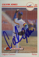 Calvin Jones Calgary Cannons - Mariners Affiliate 1991 Line Drive Pre-Rookie Autographed Card - Minor League Card. This item comes with a certificate of authenticity from Autograph-Sports. PSM-Powers Sports Memorabilia