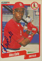 Alex Cole St. Louis Cardinals 1990 Fleer Autographed Card. This item comes with a certificate of authenticity from Autograph-Sports. PSM-Powers Sports Memorabilia