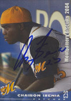 Chairon Isenia Montgomery Biscuits - Devil Rays Affiliate 2004 Grandstand Autographed Card - Minor League Card. This item comes with a certificate of authenticity from Autograph-Sports. PSM-Powers Sports Memorabilia
