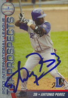 Antonio Perez Durham Bulls - Devil Rays Affiliate 2003 Choice Autographed Card - Minor League Card. This item comes with a certificate of authenticity from Autograph-Sports. PSM-Powers Sports Memorabilia