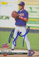 Benji Gil Oklahoma City 89ers - Rangers Affiliate 1994 Classic Autographed Card - Minor League Card. This item comes with a certificate of authenticity from Autograph-Sports.-Powers Sports Memorabilia