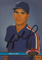Benji Gil Texas Rangers 1991 Topps Stadium Club Autographed Card. This item comes with a certificate of authenticity from Autograph-Sports. PSM-Powers Sports Memorabilia