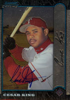 Cesar King Texas Rangers 1999 Bowman Chrome   Autographed Card. This item comes with a certificate of authenticity from Autograph-Sports. PSM-Powers Sports Memorabilia