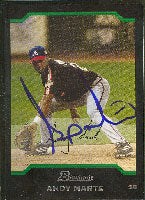 Andy Marte Atlanta Braves 2004 Bowman Autographed Card. This item comes with a certificate of authenticity from Autograph-Sports. PSM-Powers Sports Memorabilia