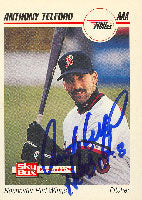 Anthony Telford Rochester Red Wings - Orioles Affiliate 1992 Skybox Pre Rookie Autographed Card - Minor League Card. This item comes with a certificate of authenticity from Autograph-Sports. PSM-Powers Sports Memorabilia