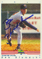 Ben Blomdahl Fayetteville Generals - Tigers Affiliate 1992 Classic Best Autographed Card - Minor League Card. This item comes with a certificate of authenticity from Autograph-Sports. PSM-Powers Sports Memorabilia